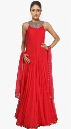 Classy Neck Embroidered Red Net Indo Western Salwar Kameez SU20311