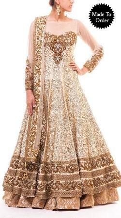 Classy Off White Premium Fabric Designer Replica Anarkali Cum Lehenga BP1808