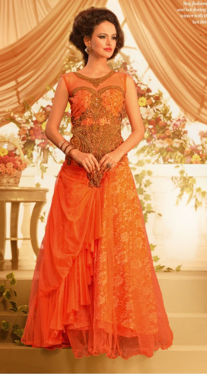 Classy Orange Net Embroidered Indowestern Gown BR105391