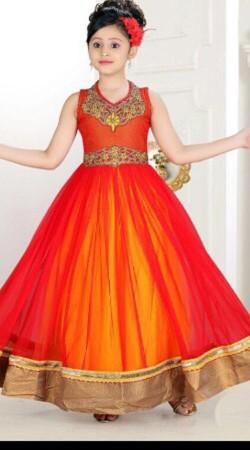 Classy Orange Net Golden Border Readymade Kids Long Gown DT702137