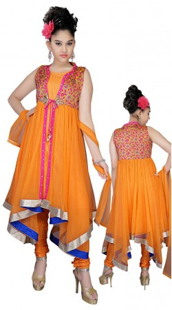 Classy Orange Net Readymade Kids Asymmetrical Salwar Kameez DT50142