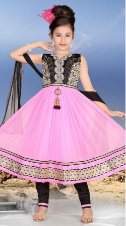 Classy Pink Net Readymade Kids Anarkali Suit With Dupatta DT300741