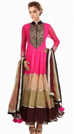 Classy Pink Net Readymade Party Wear Salwar Kameez With Dupatta SU19910