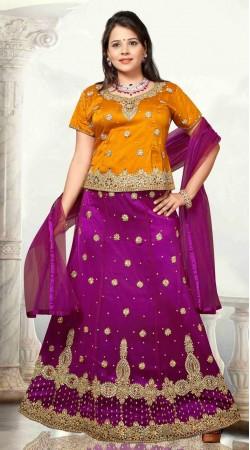 Classy Purple And Orange Net Embroidered Lehenga Choli DT92439