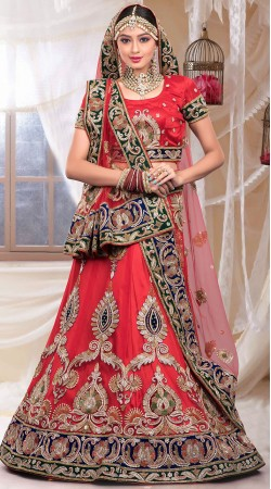 Classy Red Net Embroidered Bridal Lehenga Choli With Dupatta ZP1105