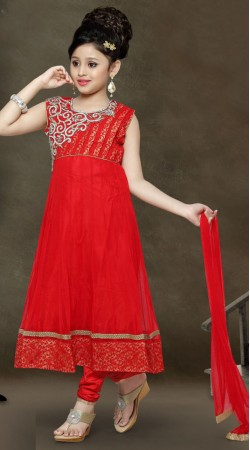 Classy Red Net Readymade Kids Anarkali Suit  With Dupatta DT300341