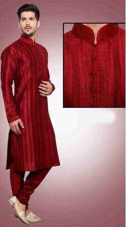 Classy Red Pintex Work Art Dupian Silk Kurta Payjama DTKP1551
