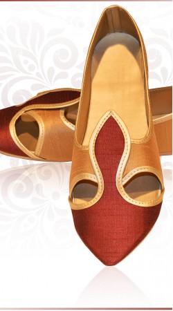 Classy Red Raw Silk Wedding Mens  Mojari For Sherwani ZP0507