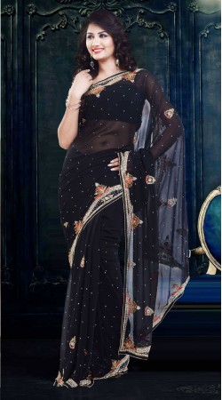 Classy Stone Work Black Faux Georgette Exclusive Saree ZP0704