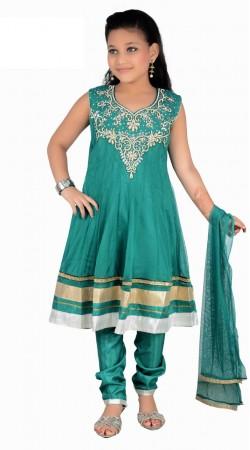 Classy Turquoise Net Readymade Kids Salwar Kameez With Dupatta DT1240