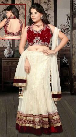Classy White And Maroon Net Wedding Lehenga Choli With Dupatta DT91439