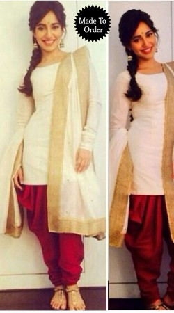 Classy White And Red Bollywood Star Neha Sharma Replica Dhoti Style Salwar Kameez BP0908