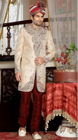 Classy White Brocade Embroidered Indowestern Sherwani For Wedding 3FD3871432