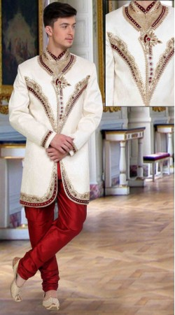 Classy White Brocade Embroidered Wedding Sherwani DTWSH135