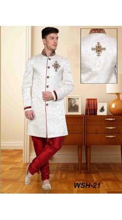 Classy White Brocade Embroidered Wedding Sherwani DTWSH2135