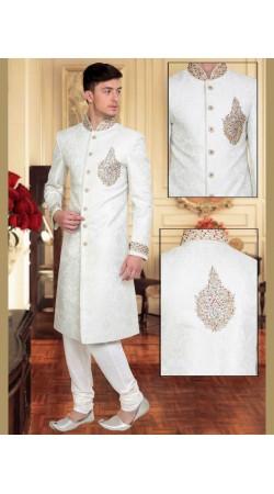 Classy White Brocade Embroidered Wedding Sherwani DTWSH2635