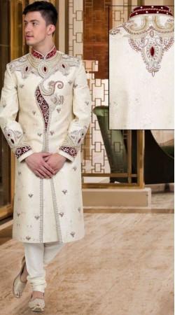 Classy White Brocade Embroidered Wedding Sherwani DTWSH935