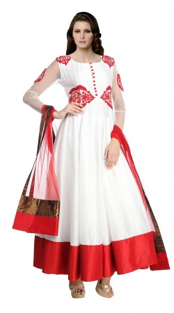 Classy White Chanderi Silk Ankle Length Anarkali Suit SUUDS17302