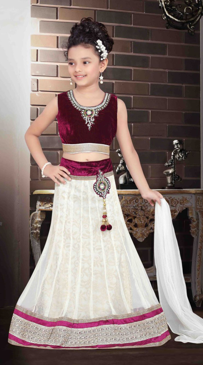 Classy White Georgette Readymade Kids Lehenga Dt702437