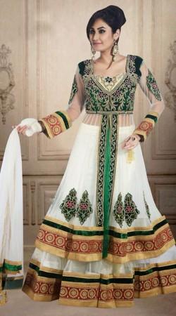 Classy White Net Wedding Long Choli Lehenga With Dupatta DT902934