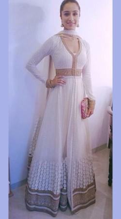 Classy White Premium Fabric Shraddha Kapoor Replica Floor Touch Anarkali BP1104
