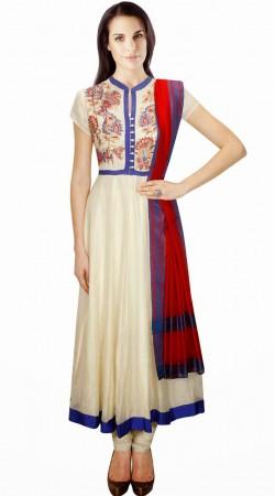 Classy White Silk Plus Size Salwar Kameez With Red Dupatta SUMA3809