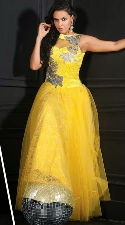 Classy Yellow Net Bollywood Neha Dhupia Indowestern Gown
