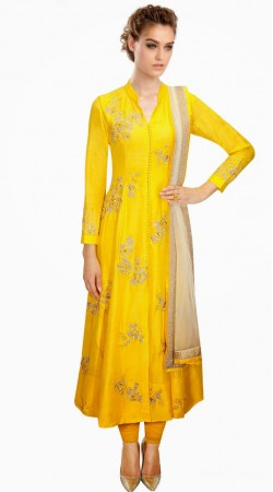 Classy Yellow Silk Floral Embroidered Plus Size Salwar Kameez SUMA1909