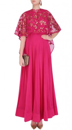 Conspicuous Georgette Rani Pink Designer Kameez With Beautiful Cape SUMS24317