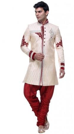 Contemporary Brocade White Hand Work Mens Jodhpuri Pant Sherwani GR132805