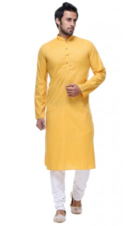 Contemporary Cotton Yellow Mens Kurta With White Churidar GR141203