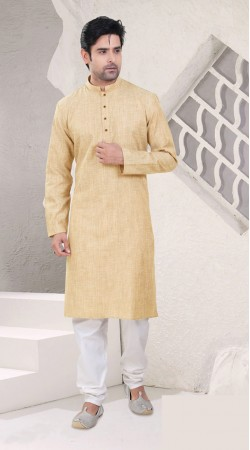 Contemporary Cream Cotton Knee Length Kurta With White Pajama SI0142