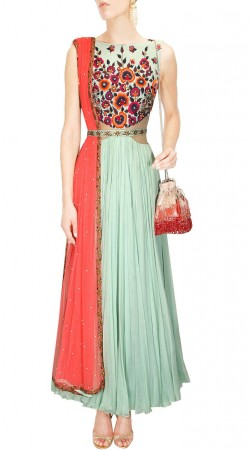 Contemporary Dupion Light Sea Green Designer Gown Style Kameez SUMS27117
