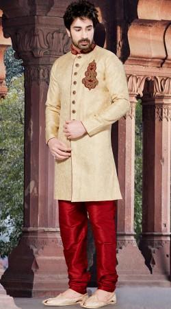 Contemporary Jacquard Cream Mens Designer Sherwani RL1151701