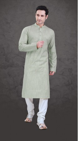 Contemporary Light Pastel Green Cotton Plain Kurta Payjama SI0343