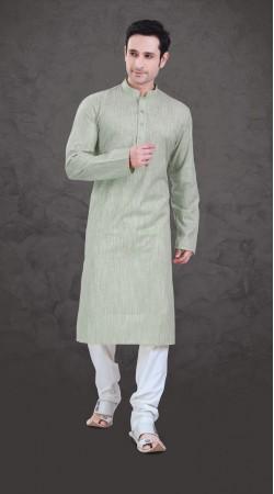 Contemporary Light Pastel Green Cotton Plain Kurta Payjama SI0343