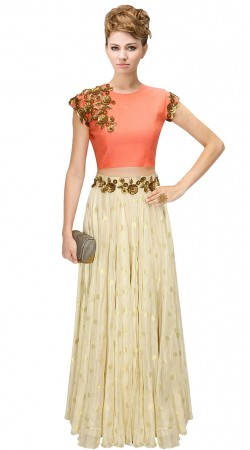 Contemporary Off White Silk Floral Work Crop Top Lehenga SUUDL10115
