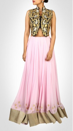 Contemporary Pink Georgette Lehenga With Embroidered Choli SUUDL14616