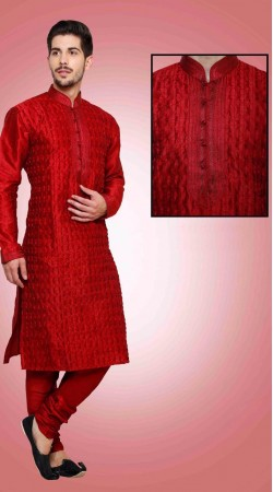 Contemporary Red Art Dupian Silk Kurta Payjama For Festival DTKP1051