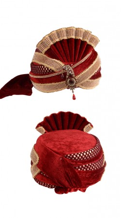Contemporary Red Velvet Designer Wedding Turban With Beautiful Kalgi ZP1111
