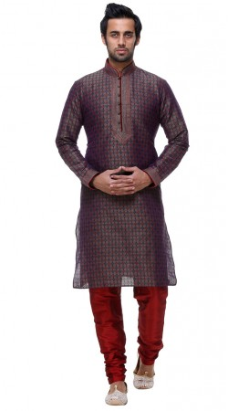 Contemporary Thread Work Neck Grey Silk Printed Kurta With Pajama GR132204