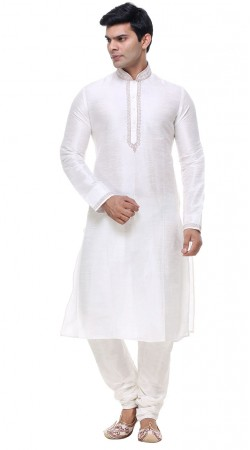 Contemporary White Silk Mens Kurta With Churidar Bottom GR139401