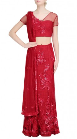 Cool Sequins Floral Work Red Net Designer Crop Top Lehenga SUUDL23719