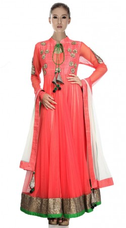 Coral Net And Silk Ankle Length Anarkali Suit SU5801
