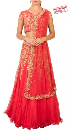 Coral Net Designer Lehenga With Pearl And Sequins Work BP0734