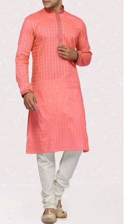 Cotton Dark Salmon Long Sleeves Men Kurta With Churidar Pajama SISCW847