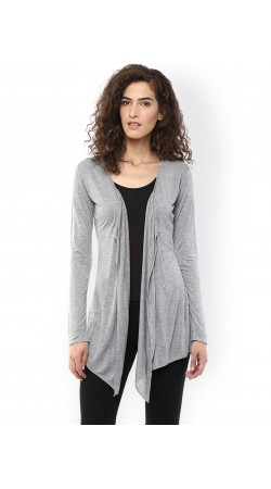 Cotton Grey Front Open Shrug With Long Sleeves