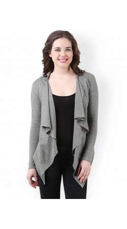Cotton Grey Spread Collar Shrug With Long Sleeves BP0229