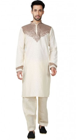 Cotton Linen Cream Men Kurta Pajama GR152819