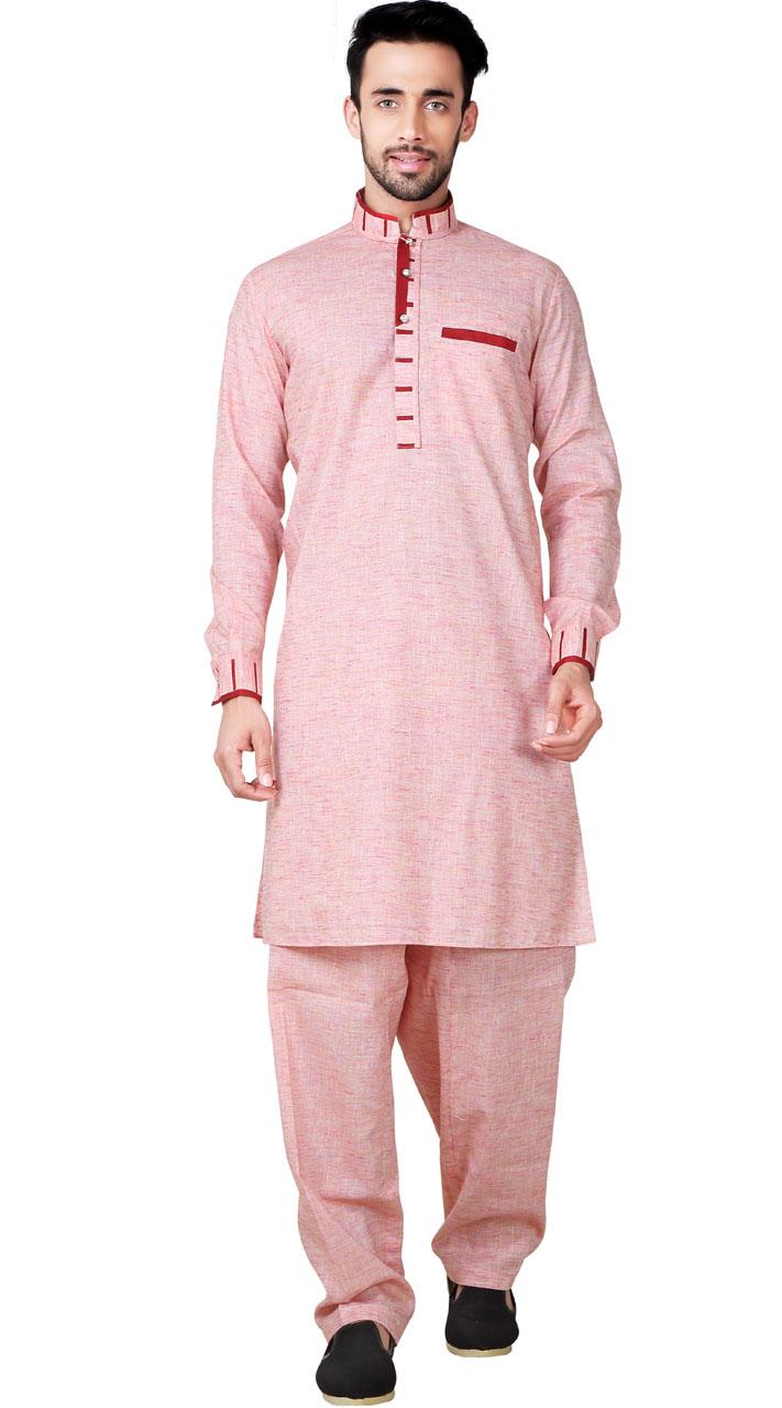 Cotton Linen Light Pink Pathani Suit For Men GR153319